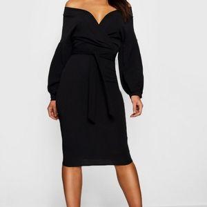 Boohoo Off-shoulder Wrap Dress